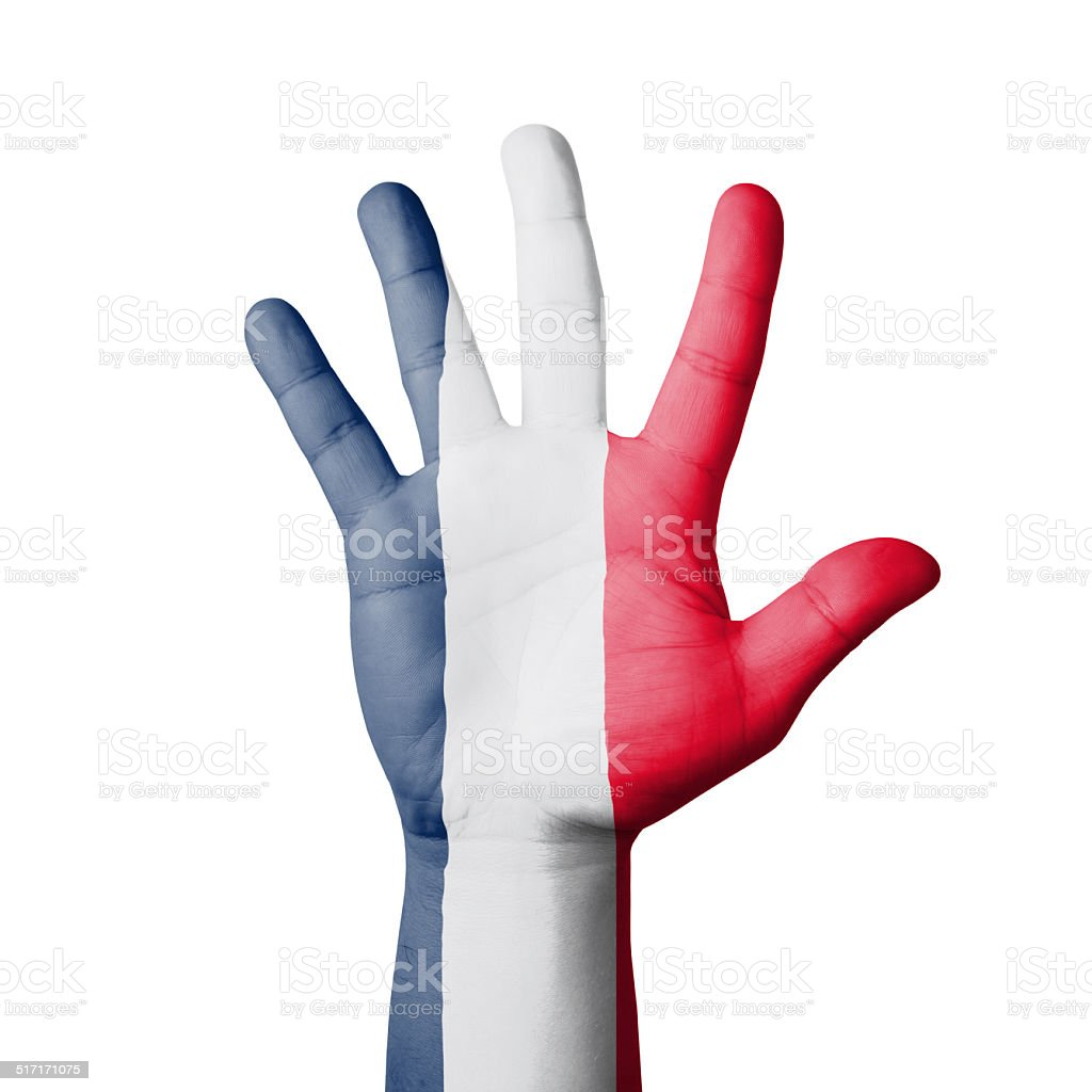 Open hand raised, France flag painted stock photo