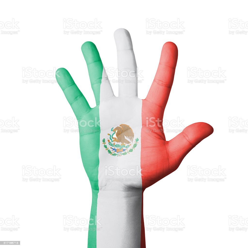 Open hand raised, Mexico flag painted stock photo