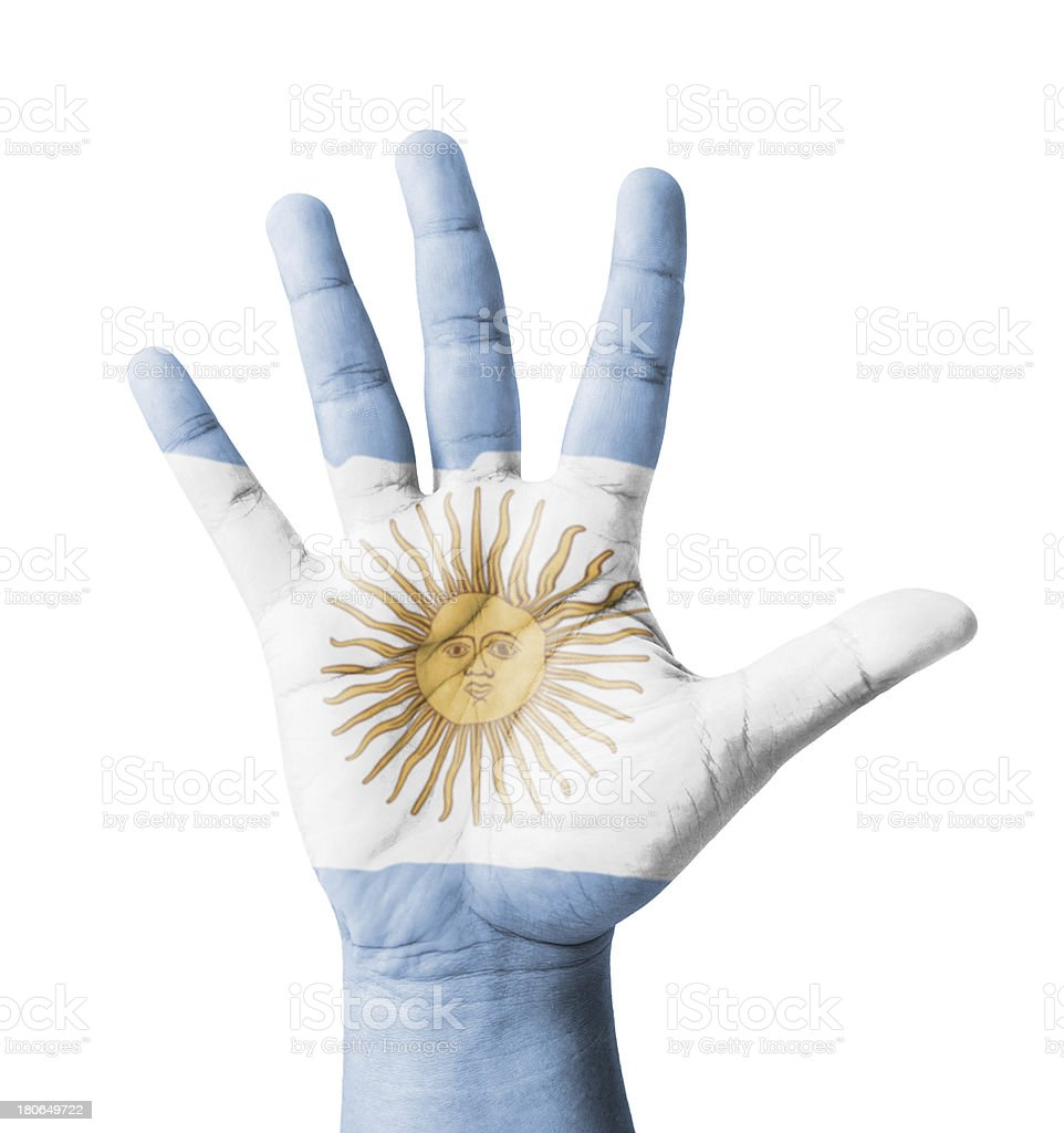 Open hand raised, multi purpose concept, Argentina flag painted royalty-free stock photo