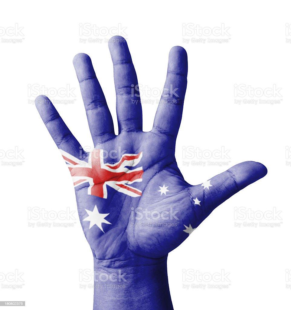 Open hand raised, multi purpose concept, Australia flag painted royalty-free stock photo