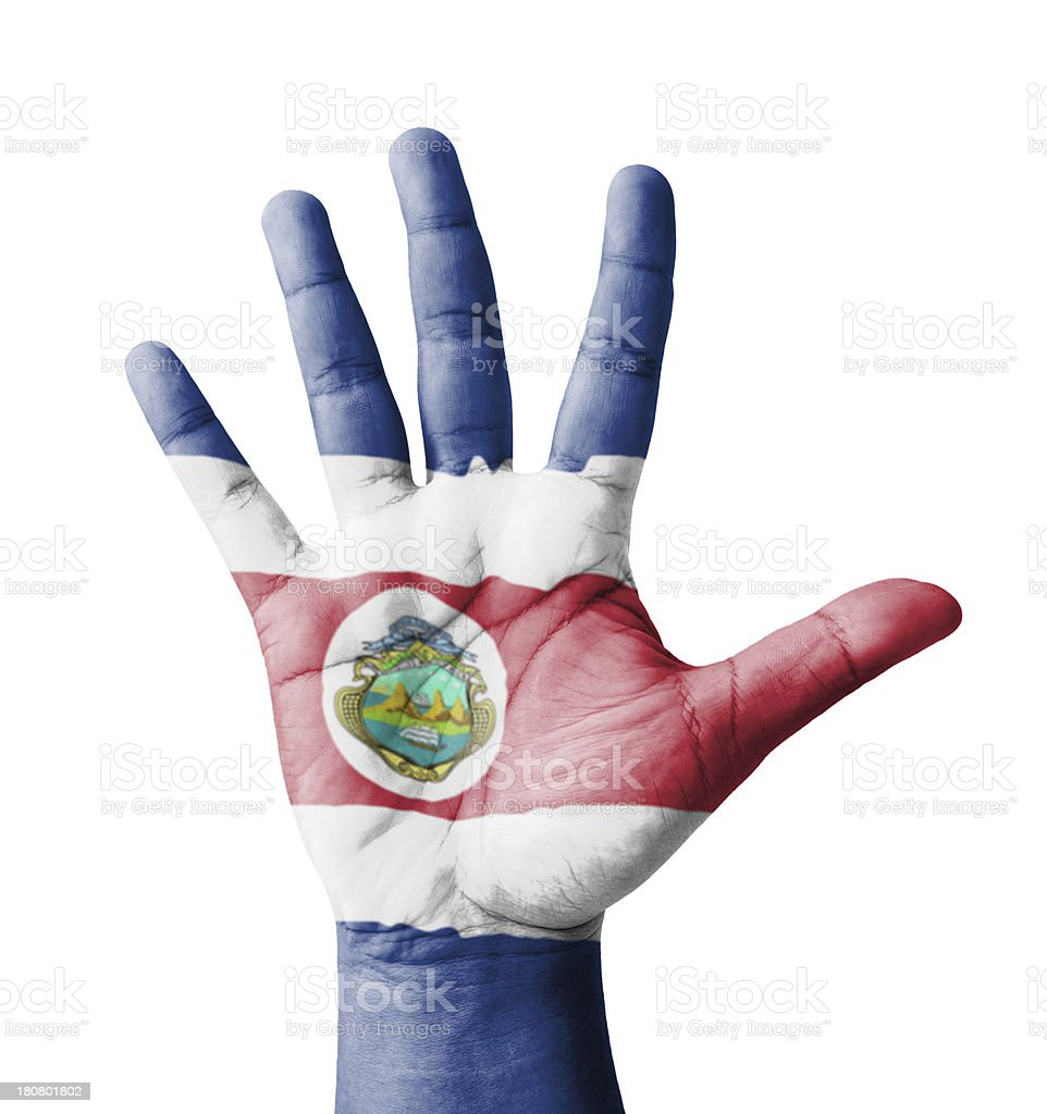 Open hand raised, multi purpose concept, Costa Rica flag painted royalty-free stock photo