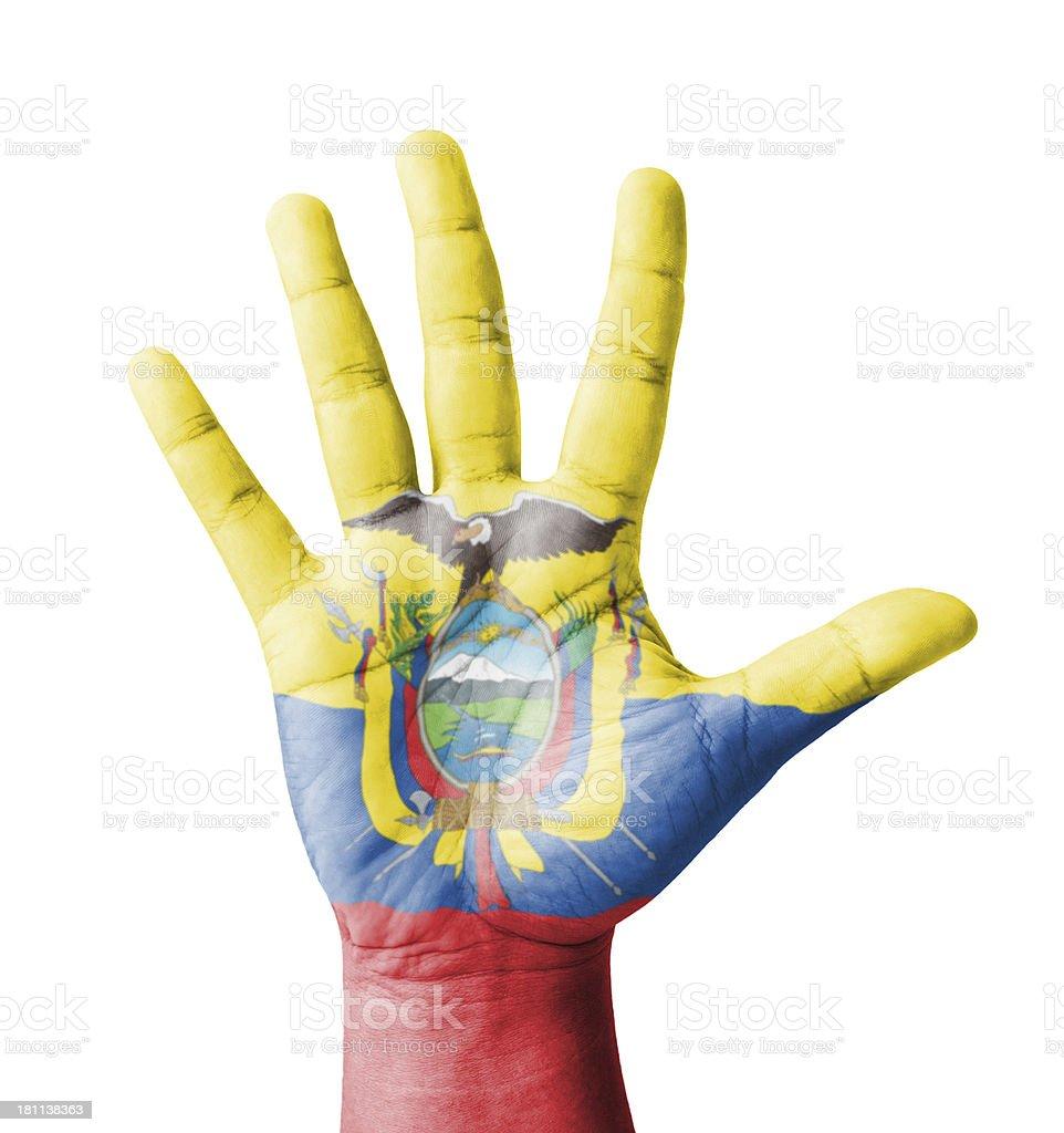 Open hand raised, multi purpose concept, Ecuador flag painted stock photo