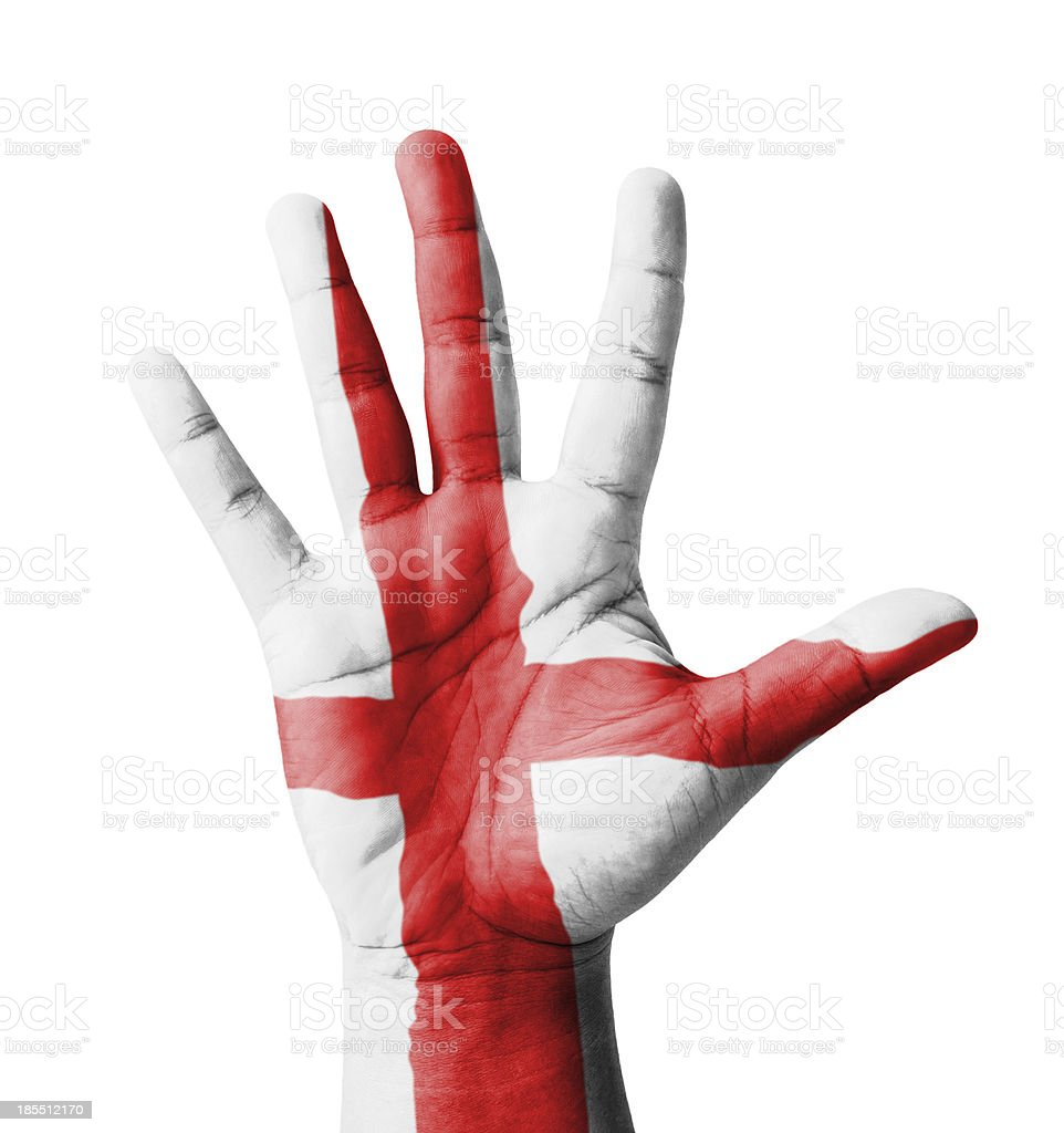 Open hand raised, multi purpose concept, England flag painted royalty-free stock photo