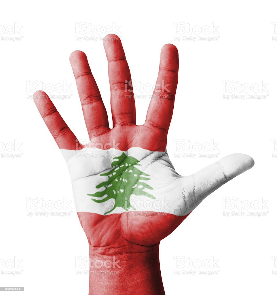 Open hand raised, multi purpose concept, Lebanon flag painted stock photo