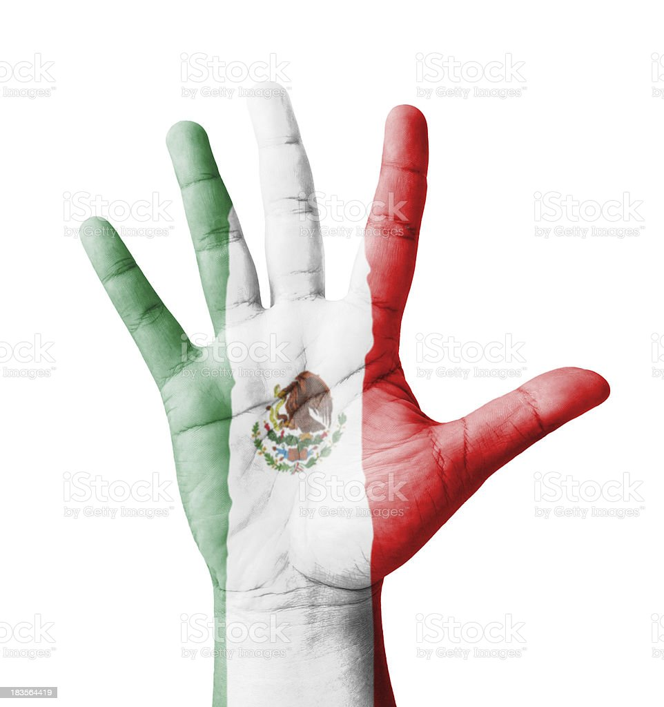 Open hand raised, multi purpose concept, Mexico flag painted royalty-free stock photo