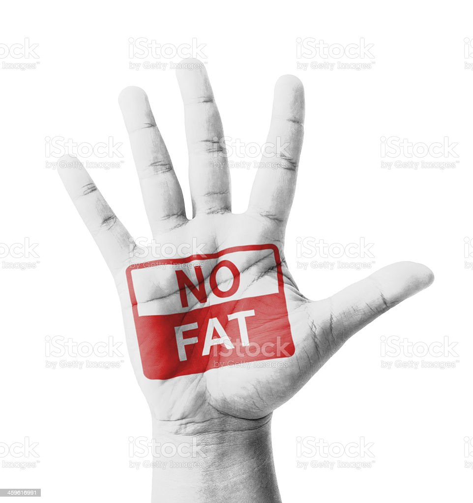 Open hand raised, No Fat sign painted stock photo