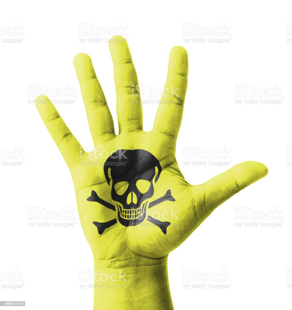 Open hand raised, Poisonous sign painted stock photo