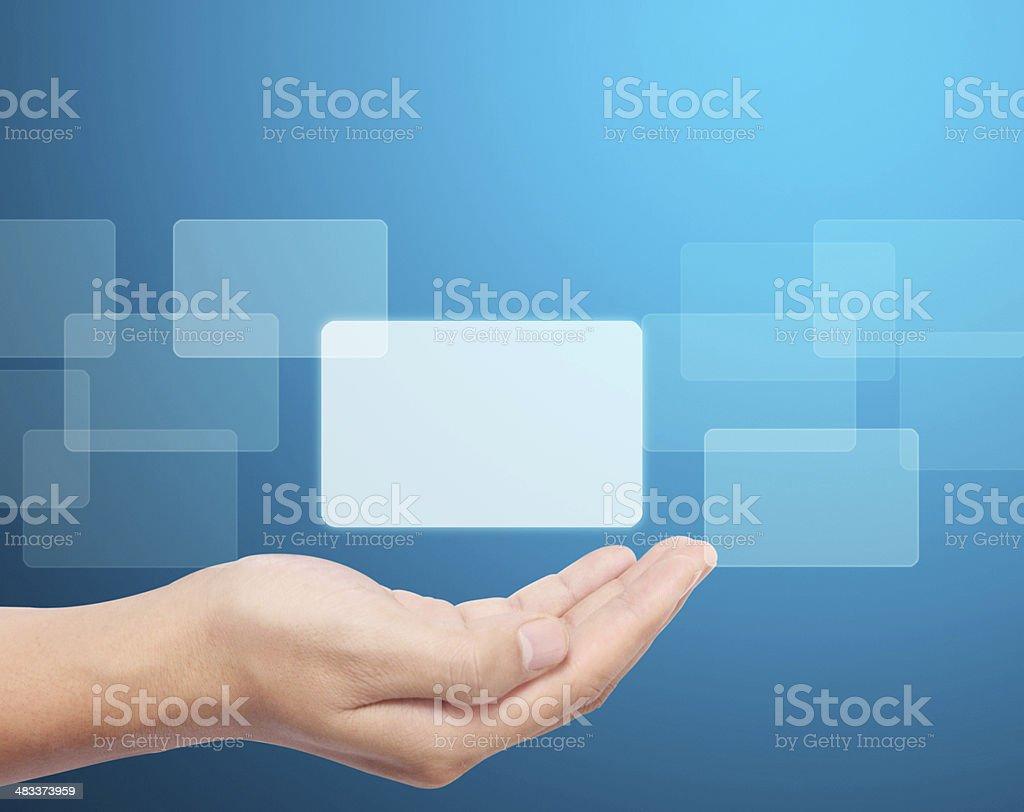 Open  hand touchscreen button stock photo