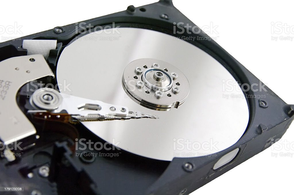 open hard drive isolated on white ackground royalty-free stock photo