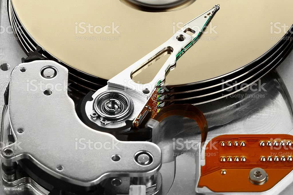 Open hard drive isolated on white background stock photo
