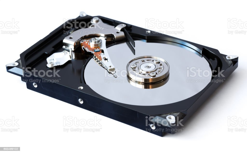 Open hard drive on white background stock photo