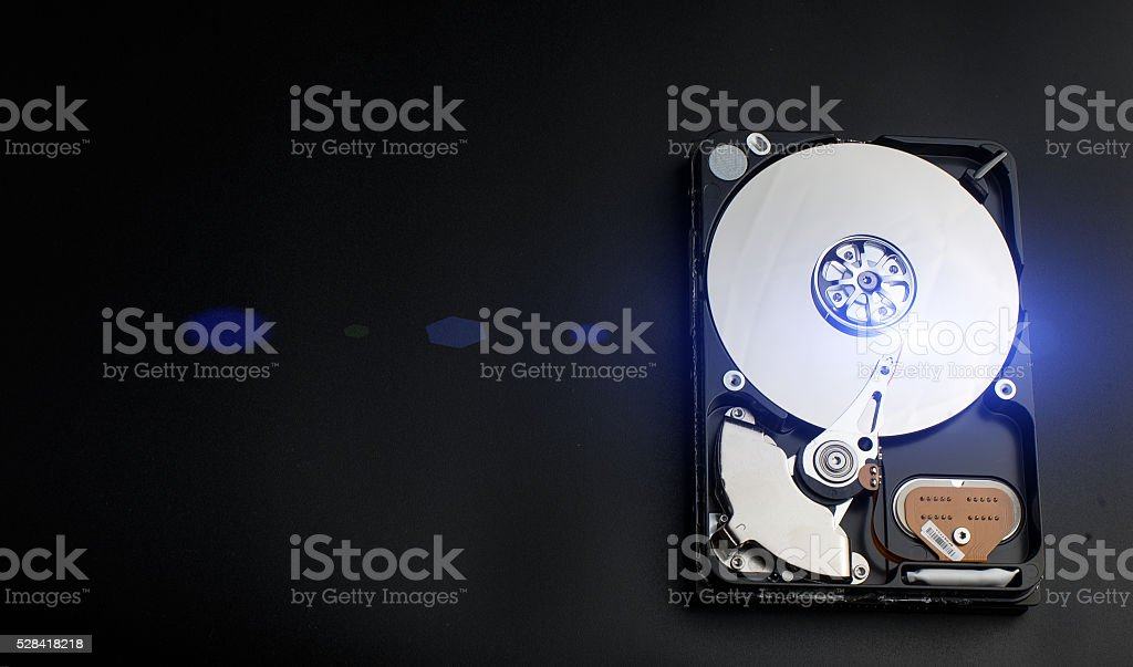 open hard drive stock photo