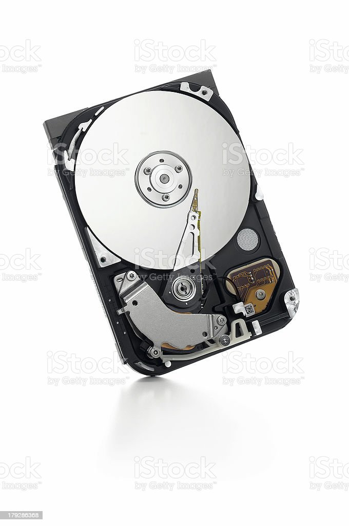 open hard drive standing on white stock photo