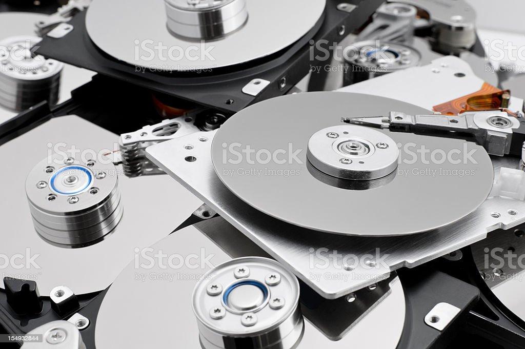 Open hard drives in bulk stock photo