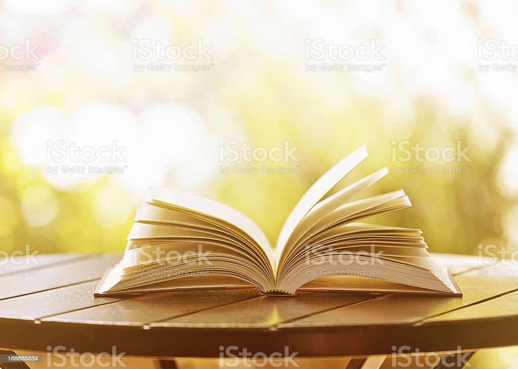 Open hardback book lying on garden table in soft sunshine stock photo