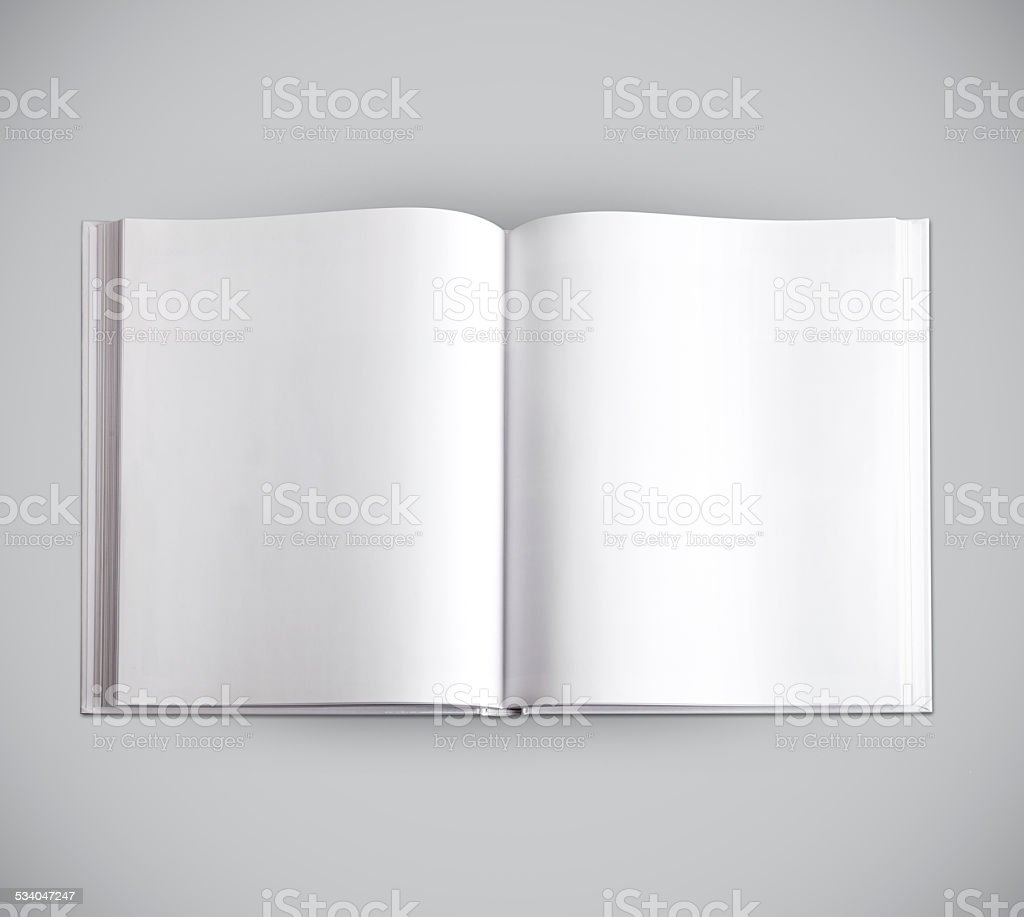 open hardcover book with blank pages isolated on grey stock photo