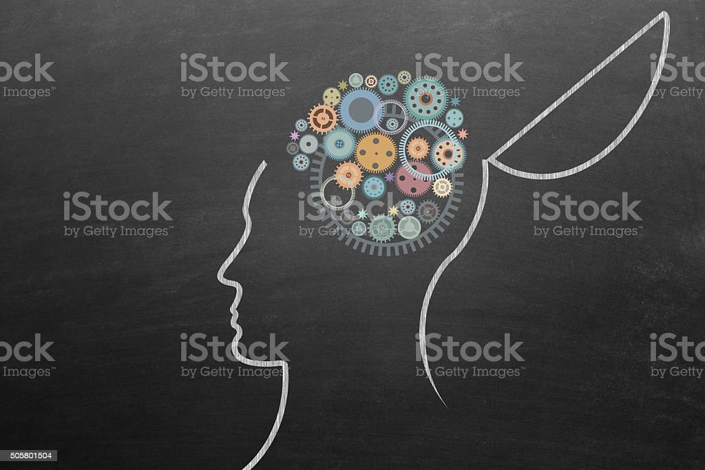 Open head with gears stock photo