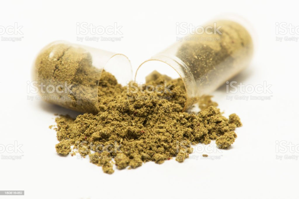 Open herbal pill royalty-free stock photo