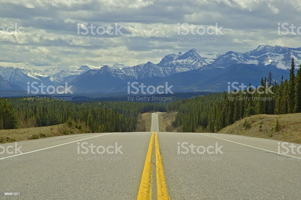 Open highway stretch in Banff National Park stock photo