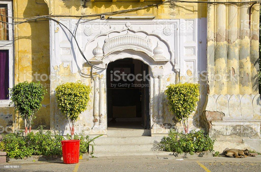 open historical house door in Amritsar , India stock photo