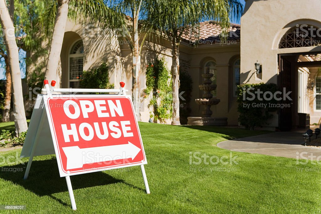 Open House Sign in Front Yard stock photo