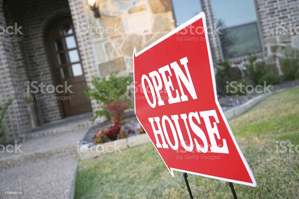 Open House Sign Pointing to New Home royalty-free stock photo