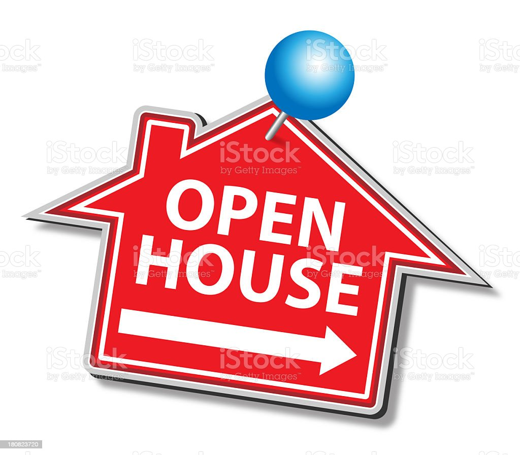 Open House Sticker With Push Pin royalty-free stock photo