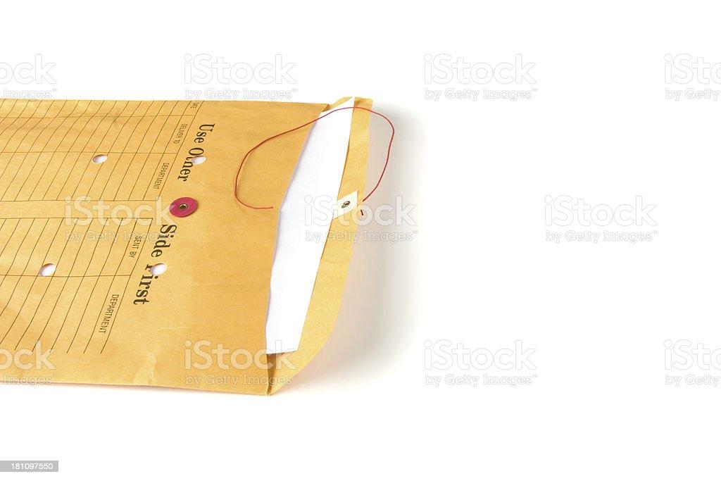 Open internal mail envelope stock photo