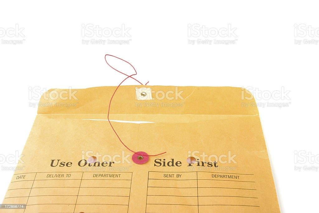 Open internal mail office envelope stock photo