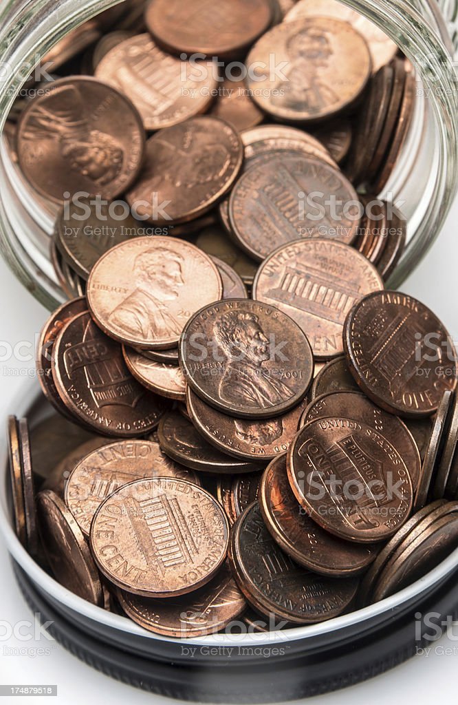 open jar full of pennies royalty-free stock photo