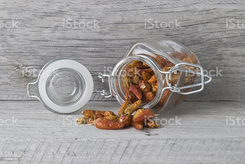 Open jar with red chilli. royalty-free stock photo