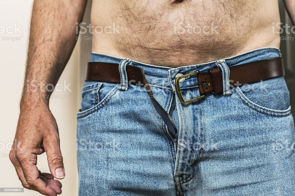 Open Jeans And Leather Belt royalty-free stock photo