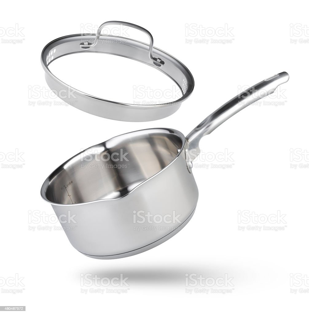 Open kitchen pot with glass lid isolated on white stock photo