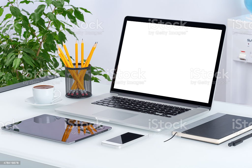 Open laptop mockup with digital tablet and smartphone stock photo