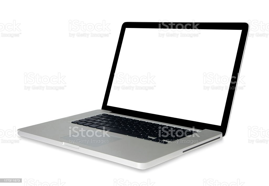 Open laptop with a blank screen stock photo