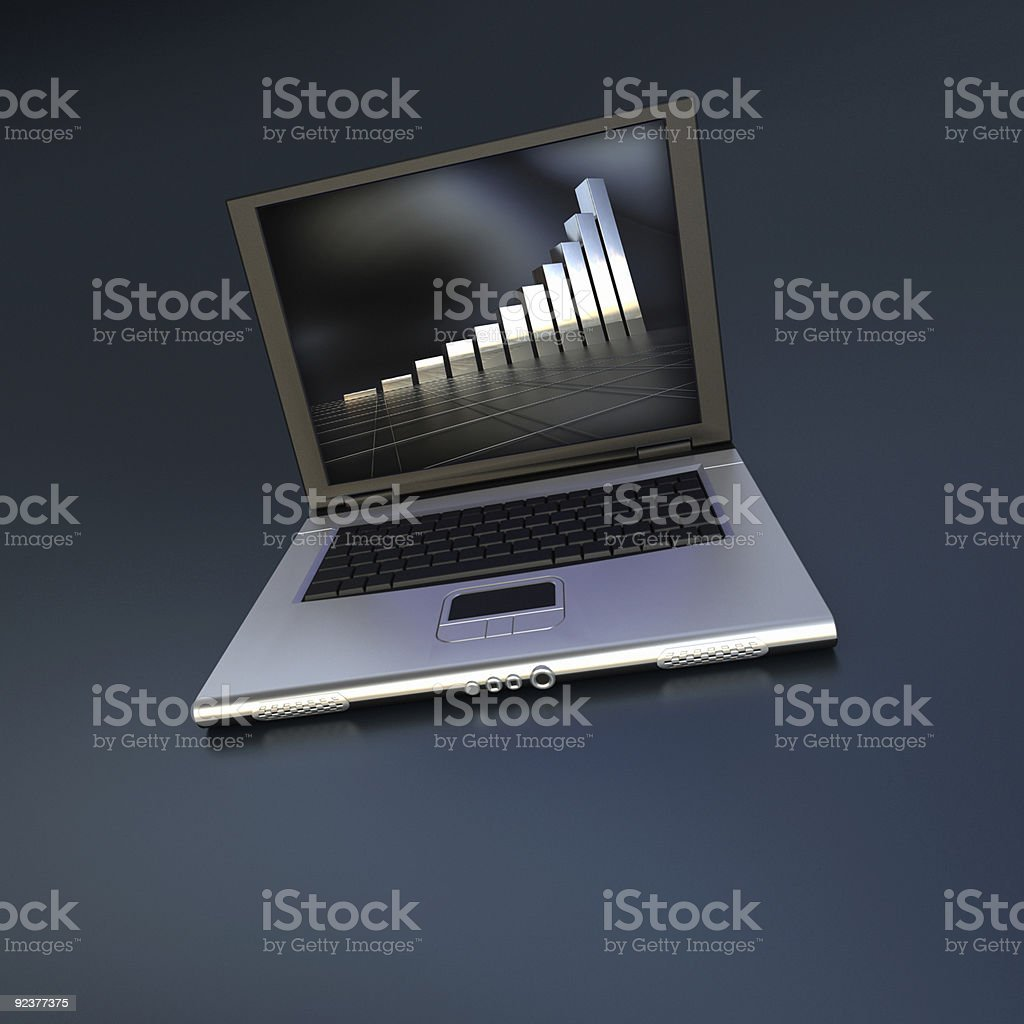 Open laptop with abstract screen saver royalty-free stock photo