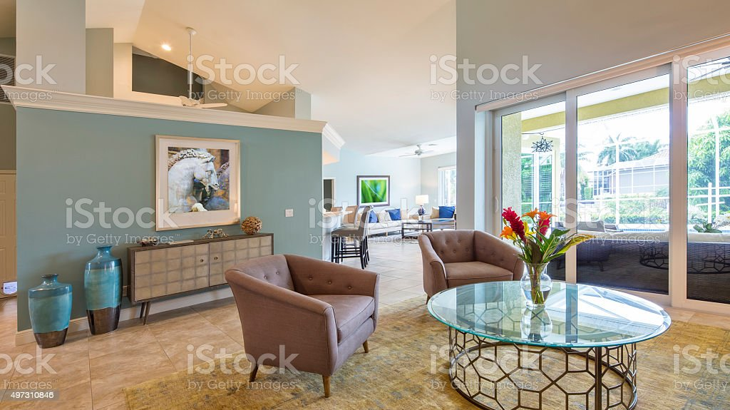 Open Living Space in a Beautiful Contemporary Home stock photo