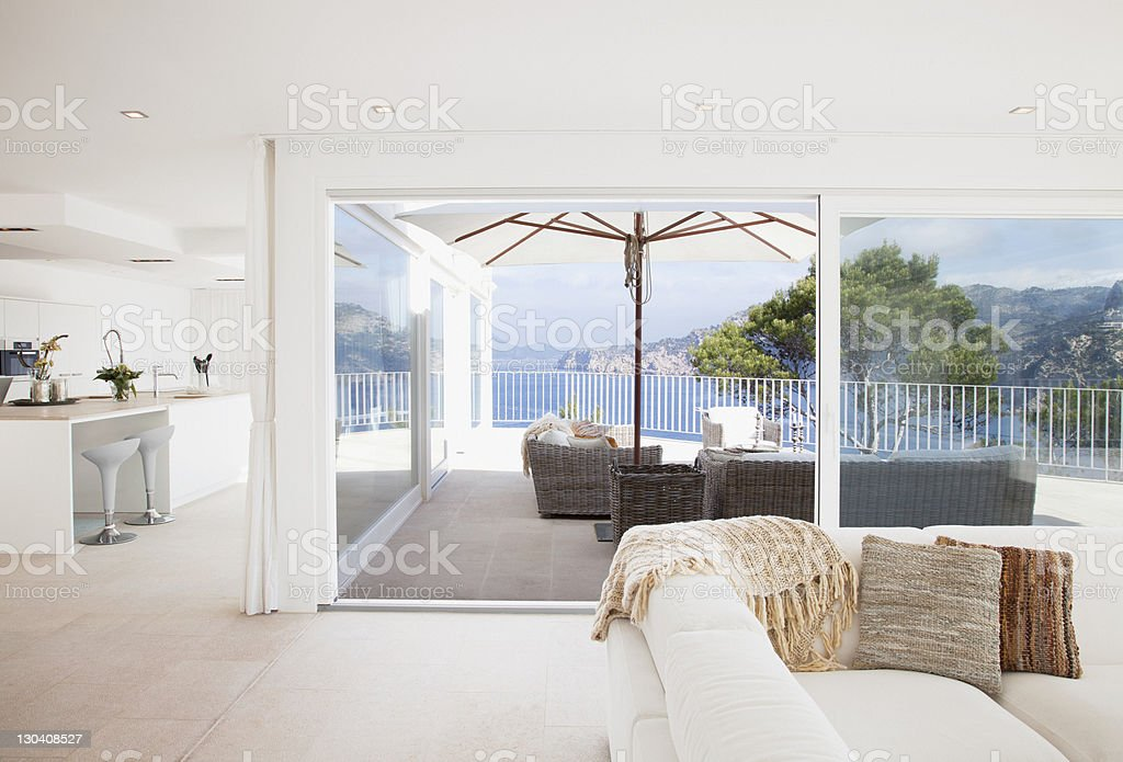 Open living space in modern house stock photo