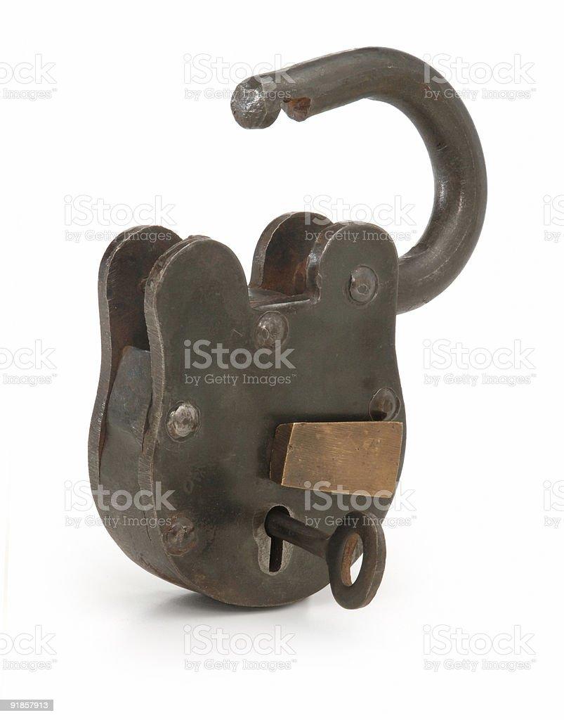 open lock on white royalty-free stock photo