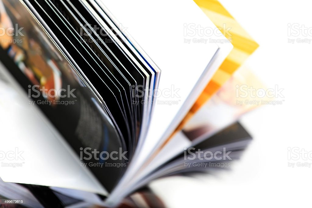 Open magazine stock photo