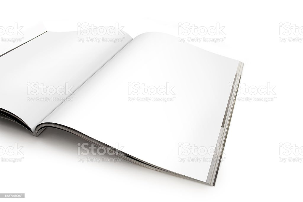 Open Magazine with Blank Pages stock photo