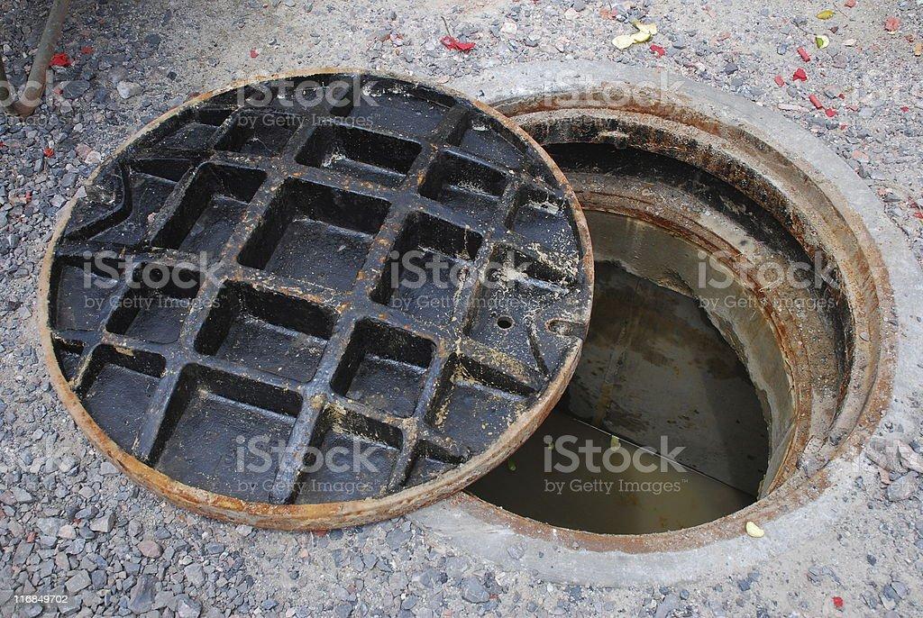 Open Manhole stock photo