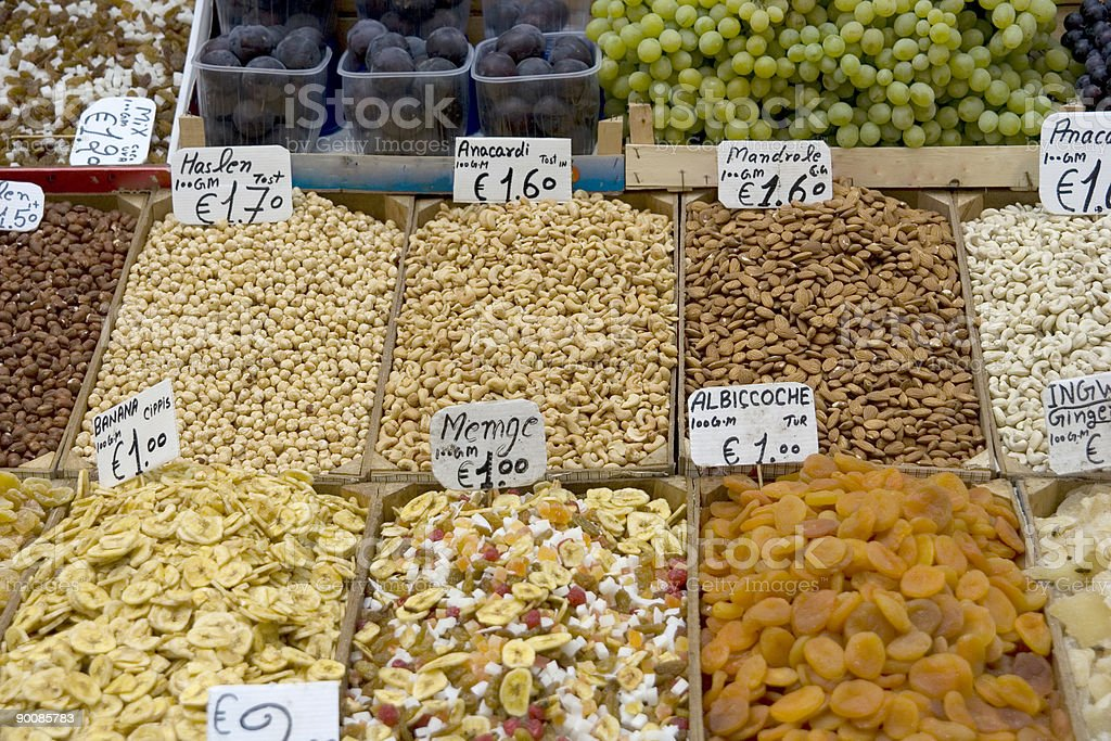 open market - dry and fresh fruit royalty-free stock photo