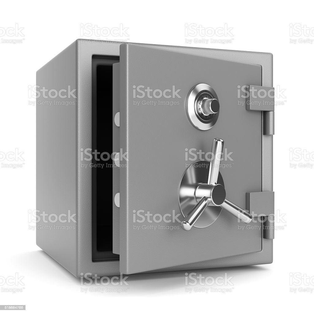 Open metal bank safe stock photo
