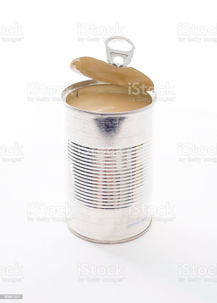 Open Metal Food Can on White stock photo