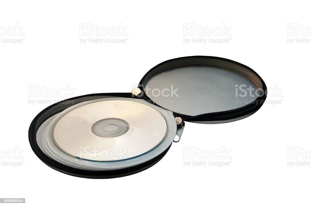 Open metal pocket for storing CD discs on white stock photo