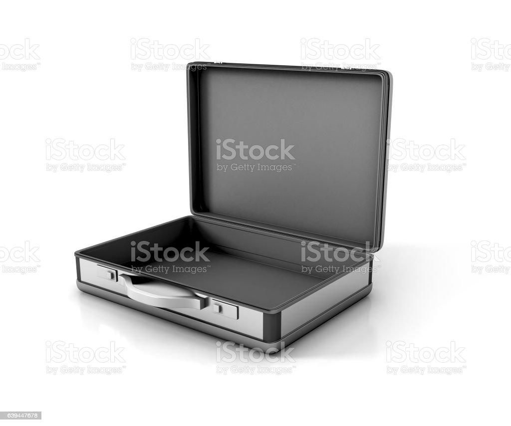 open metallic suitcase briefcase isolated. 3d illustration stock photo