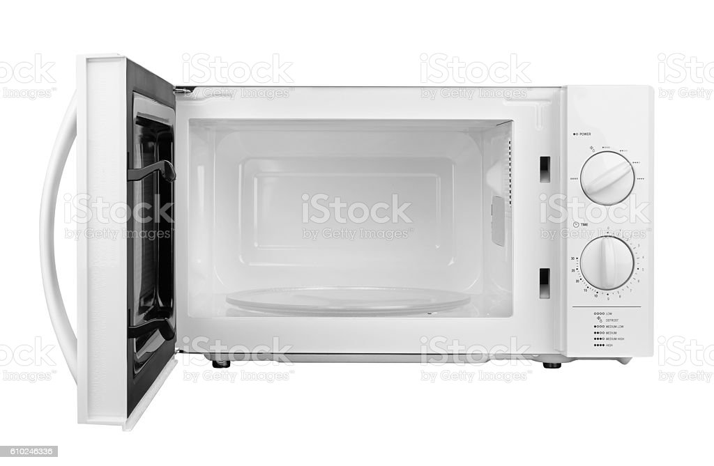 open microwave oven stock photo