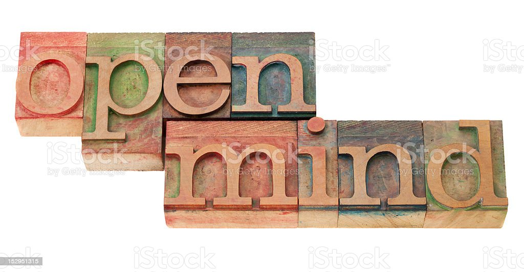 open mind in letterpress type royalty-free stock photo