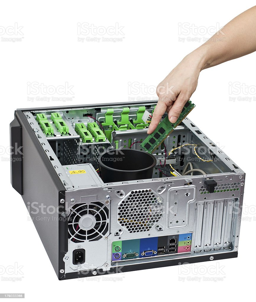 Open modern computer (backside view) stock photo